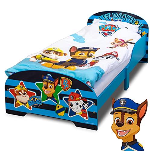 PAW Patrol Bett 140 x 70 cm   Kinderbett für Jungen und Mädchen ab 2 Jahren   Juniorbett mit Rausfallschutz & Lattenrost   Kinderzimmermöbel mit coolem Design