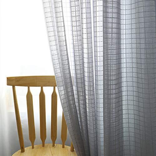 Lino Cortinas Visillo Sala Enrejado Textura Ventanas Cortinas Voile Decoración del Hogar Cortinas De Tul Habitación Balcones-Gris-Gancho 300x250cm(118x98inch)