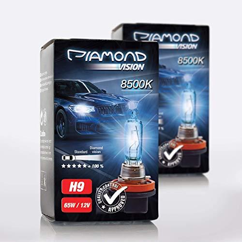 2x H9 12V 65W Diamond Vision Xenon Look Effekt Halogen KFZ Lampen Birnen Licht Optik Super Ultra White 8500k Abblendlicht Fernlicht Nebelscheinwerfer Kaltweiss Weißes Licht Weiß Duobox PGJ19-5