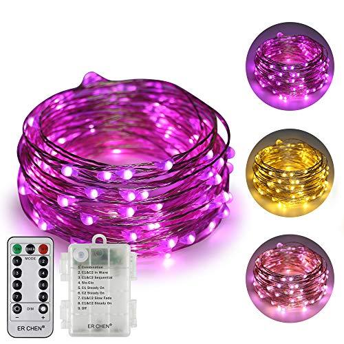ErChen batteriebetriebene Zweifarbige Led Lichterketten, 33 FT 10M 100 Leds Farbe ändern Dimmbar 8 Modi Silber Kupfer Draht-Lichterketten mit Fernbedienung Timer für Innen Außen (Warmweiß, Lila)