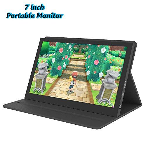 Tragbarer Monitor 7 Zoll Bildschirm - kapazitives IPS Display 1024x600, zweiter Bildschirm mit Laptop, Mini HDMI - Kompatibel mit Raspberry Pi 4/Pi 3 B +, für PS4 usw, mit Lederetui