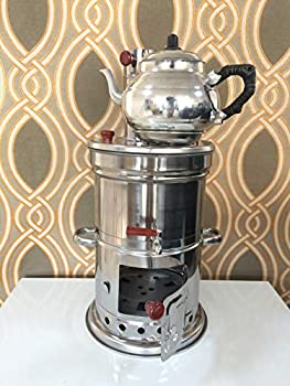 Samovar Stainless Steel Teakettle Water Heater 4.5 Liter Firewood Camping Kettle by Turquoise