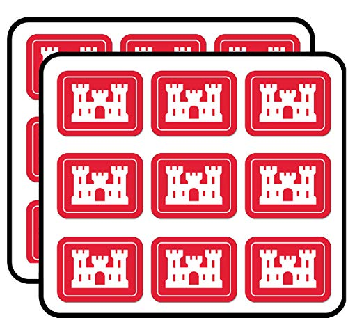 Rectangle U.S. Army Corps of Engineers - Castle Insignia us Sticker for Scrapbooking, Calendars, Arts, Album, Bullet Journals 2' 18 Pack