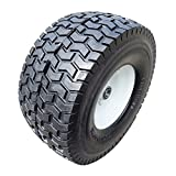 2-Pack 15x6.5-6' NHS Flat Free 3' Certerned Hub Flat Free Tires & Wheels for Lawn & Garden Mower...