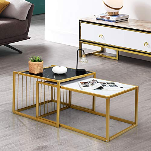 CASART Nesting Coffee Tables, Set of 2 Marble Look Metal Frame Stacking End Tables, Home Office Bedroom Living Room Space Saving Modern Sofa Side Table