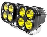 Yellow 3Inch 40W Led Pods Cree LED Driving Lamp Spot Cube Lights Bar for Off Road Ford Truck Boat Pickup ATV UTV Forklift SUV Motorcycle Fog 12V 24V Scooter Tractor RV Bike Motor (Pack of 2)