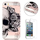 CaseHome Compatible for iPhone SE/5S/5 Coque Silicone de Gel [Gratuit Protections D'écran], Clear Ultra Slim Transparente Antichoc Doux Protecteur TPU Mode Motif Housse-Crâne Rose Fleur