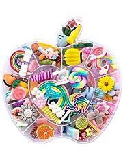 تشارمز راتينج مسطحة، 100 قطعة من التشارمز اللزجة والحاويات مختلطة من كعكة الحلوى، ألعاب من الراتينج للحرف اليدوية، وألبوم القصاصات، صنع المجوهرات (رئيسي) (خليط)