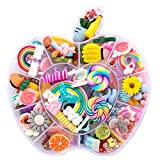 WINTING Not for croc,100pcs Slime Charms,Plastic Flatback Charms and Containers Mixed Candy Cake Sweets Resin Cabochons for DIY Crafts, Scrapbooking, Jewelry Making(mix)