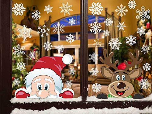 Heekpek Natale Vetrofanie Fiocchi Di Neve Rimovibile Adesivo A Doppia Faccia Visibile Alce Babbo Natale Adesivi Decorativi Natale Riutilizzabili Decorazione Invernale Natale Vetrofanie Addobbi