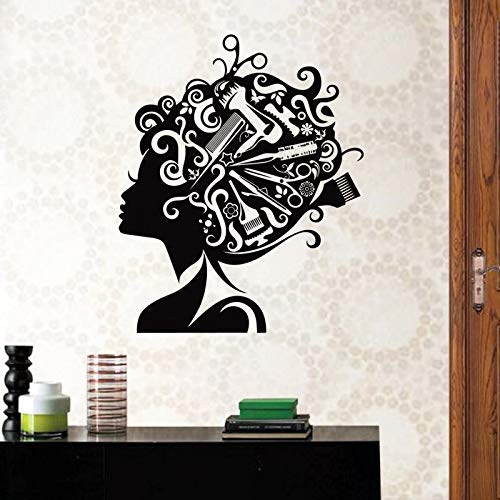 WERWN Pegatinas de peluquería Hermoso Peinado Nombre Hora Horas Vinilo Pared Art Deco Mural Pegatinas de salón