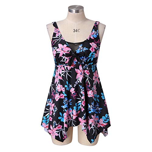 KPILP Plus Size Fashion Swimsuit for Womens Two Piece Tankini Set Boho Swimwear Summer Holiday Beachwear Bathing Suit Oversized Tummy Control Swimdress for Ladies(Pink,XXL)