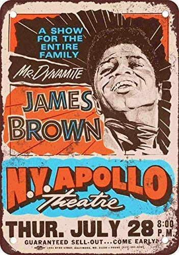 HNNT Aluminum Metal Sign 12x16 inches Metal Tin Sign 1966 James Brown at The Apollo Theater Vintage Look Reproduction Wall Decor