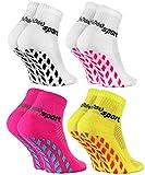 Rainbow Socks - Jungen Mädchen Neon Sneaker Sport Stoppersocken - 4 Paar - Weiß Weiß Gelb Rosab - Größen 30-35