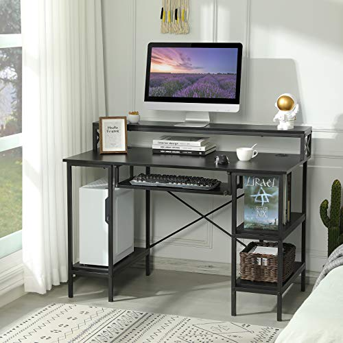 Sedeta PC Schreibtisch, Schreibtisch Schwarz, Computertische mit Tastaturablage, Bürotisch Schwarz mit 2 Regalebenen/Monitorständer, Laptop Tisch, Home Office Tisch, Arbeitstisch