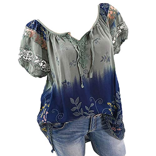 Plus Size Tunic Tops for Women Short Sleeve Shirts Boat Neck Lace Patchwork Floral Print Summer Casual T-Shirt Blouses Army Green