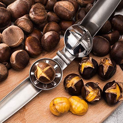 Ruluti 1PC des Edelstahl-304 2 In 1 Schnell Chestnut Clip Walnuss Zange Metall Nussknacker Sheller Nuss-ÖFfner KüChenwerkzeuge Cutter Gadgets,6.88x1.96x1.37in