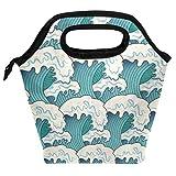 Bolsa de almuerzo con ondas japonesas reutilizables, aislantes, reutilizables, para mujeres, niños, parrillas, almuerzos, preparación de comidas, bolso de mano para la escuela, picnic, oficina