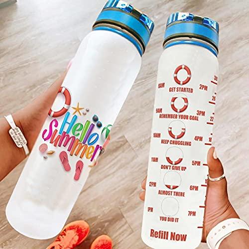 Hothotvery Botella de agua deportiva impresa de Hallo para verano o playa, sin BPA, 1 L, sostenible, para gimnasio, blanco, 1000 ml