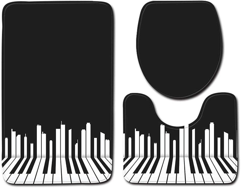 Los mejores precios y los estilos más frescos. Hyvaluable Alfombrillas de bao Juego de 3 Piezas Piezas Piezas Juego de Piano patrón Bao Antideslizante Almohadilla de Inodoro Acolchada Alfombra de bao de Tres Piezas (Color   Color3, Talla   50  80cm)  comprar barato
