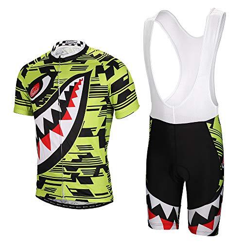 SKYSPER Radtrikot Herren Fahrradbekleidung Set Outdoor Sports Kurzarm Radkleidung + Radfahren Latzhose Shorts im Sommer