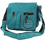 GURU SHOP Schultertasche, Hippie Tasche - Blau, Herren/Damen, Türkis, Baumwolle, Size:One Size, 25x25x7 cm, Alternative Umhängetasche, Handtasche aus Stoff