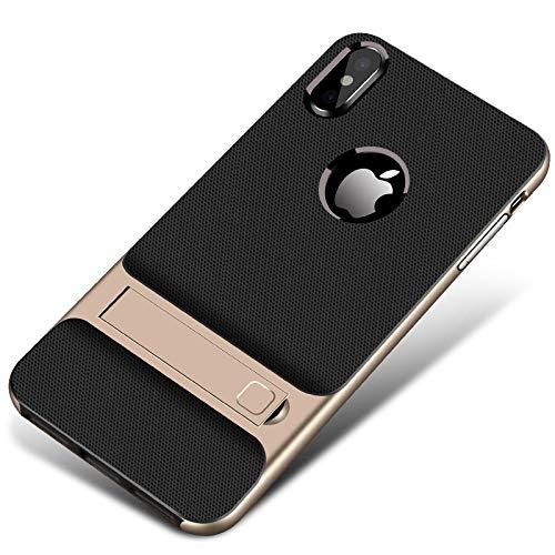 RUNEEE Anti-caída for el iPhone 11 Pro MAX X XS XR 8 7 6 6S Plus Cubierta iPhone SE 2020 sostenedor de la Caja del teléfono DE Coque for iPhone X (Color : Gold, Size : For iPhone 8 Plus)