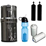 Berkey Travel Water Filter System, with Black Purifiers, Fluoride Filters & Sport Bottle (with Filter) ! Idéal pour Le Camping.