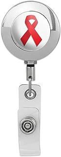 Red Awareness Ribbon Drug Free HIV AIDS Retractable Reel Premium Metal Chrome Badge ID Card Holder Clip