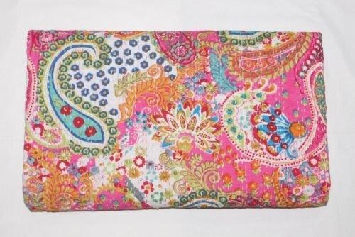 Sophia Art Kantha-Steppdecke, traditioneller indischer Baumwoll-Tagesdecke, Paisleymuster, für Doppelbetten