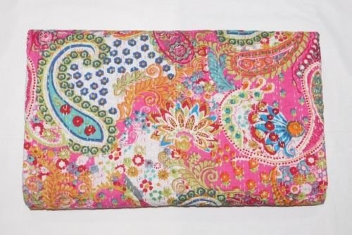 Sophia-Art King/Twin Size Indian Handmade Paisley Print Kantha Quilt Cotton Kantha Blanket Bed Cover Sofa Cover Kantha Couvre-lit Bohème literie (Pink1, Twin 60 * 90 inches)