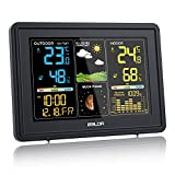 BALDR Wetterstation Funk mit Außensensor, Digital Farbdisplay DCF-Funkuhr Innen und Außen Thermometer Hygrometer, Funkwetterstation mit Wettervorhersage, Barometer und Mondphase (Schwarz)