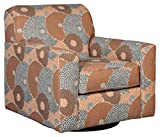 Signature Design by Ashley - Benissa Mid-Century Floral Patterned Modern Swivel Accent Chair, Orange