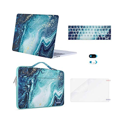 MOSISO Compatible with 2016-2020 MacBook Pro 13 inch Case A2338 M1 A2289 A2251 A2159 A1989 A1706 A1708, Creative Wave Marble Hard Shell Case&Sleeve Bag&Keyboard Skin&Webcam Cover&Screen Protector,Blue