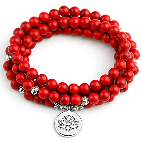 NASHUBIA Vrouw Mala Ketting & armbanden Rood Howliet Steen 6MM Beaded Yoga Armband Boeddha Lotus 108 Kralen Yoga Armbanden Sieraden
