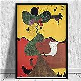 Joan Miro Pinturas Famosas Carteles e Impresiones Abstractos Póster de Lienzo en HD Pintura Imágenes en la Pared Decoración del hogar 50x70 cm (19.68x27.55 in) K-292