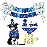 Xinapy Azul Perro Cumpleaños Sombrero Bandana Set Lindo Perro Banner 0-9 Números Pata Imprimir Globos Mascotas Princesa Tocado Disfraces