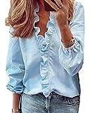 Eledobby Mujer Volantes Escote en V Tops Manga Larga Damas Elegante Camisetas Ropa de Salón Top Floral/Estampado de Letras/Color Sólido Casual Primavera Verano Ropa Azul Claro XL