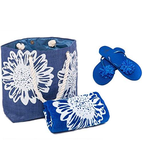 Bolsa de Playa para Mujer + Toalla de Playa + Chanclas 3 Piezas Floral Airee Fairee