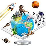 AR Globe, Globe for Kids Learning, 9 Inch Diameter AR Augmented Reality App Interactive Globe for Explore The World Geography Learning, Illuminated AR Globe for Kids Educational Toys Gift.