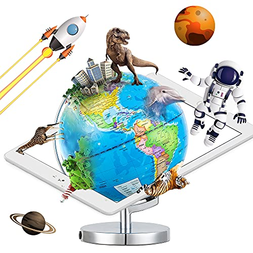 AR Globe, 3 in 1 Smart World Globe, AR Augmented Reality App Interactive Globe for Explore The World Geography Learning, Illuminated AR Globe, Gift for Kids Ages 8+.