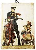 KUSTOM ART Cuadro de estilo vintage oficial en moto de colección, impresión sobre madera