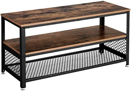 Vasagle LTV40BX TV Stand for TV up to 43 Inches, Industrial Design Console / Lowboard / Living Room Table, Metal Frame, Wood Grain, Vintage, Dark Brown