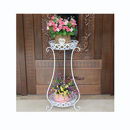 Pot de fleurs Support de fleurs multicouche Windowsill Desk Plante charnue Creative Iron Art Support de fleurs pour balcon (Couleur : Blanc)