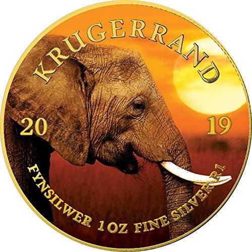 Power Coin Elephant Elefant Krugerrand Big Five 1 Oz Silber Münze 1 Rand South Africa 2019