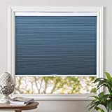 Grandekor Cellular Shades Blackout Cordless Cellular Blinds Honeycomb Blinds Window Shades Room Darkening Shade Ocean Blue-White, 34'(W) x 36'(H)