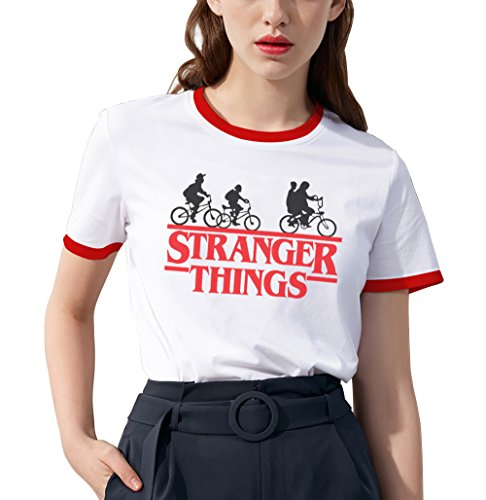 Shirt Ringer tee Stranger Things Camiseta Mejores Amigas Best Friend Impresión T-Shirt Manga Corta1 Pieza Retro Regalo Camisa Cuello Redondo Verano para Mujer(Rojo,M)
