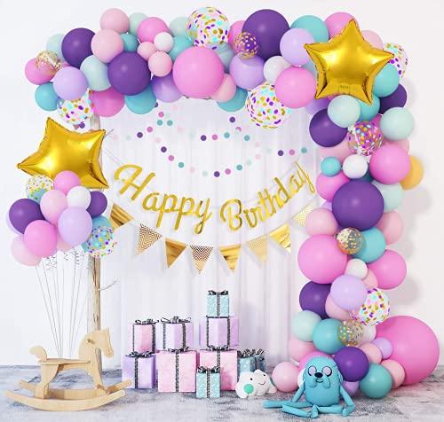 103 Pezzi Unicorno Palloncini Ghirlanda Arco Ragazza Compleanno Happy Birthday Banner Festa Decorazioni Viola Rosa Blu Lattice Palloncino Donna Ragazzi Battesimo Oro Confetti Stella
