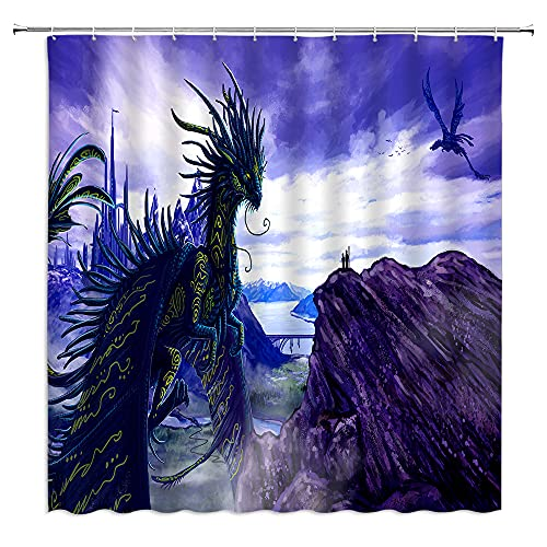 Dragon Shower Curtain Fantasy Medieval Mythology Purple Blue Dragon Ancient Magic Animal Strong and Brave Dragon Type Flying Pterodactyl Gothic Dream Cool Guy Bathroom Bathtub Decoration with Hook
