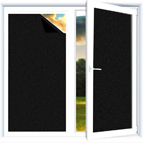 Do4U Verdunklungsfolie für Fenster, Sichtschutz zum Aufkleben, Blickdicht, 100% lichtundurchlässig, Vinylaufkleber ohne Gelkleber, leicht zu entfernen, Schwarz, 44.5 * 200CM